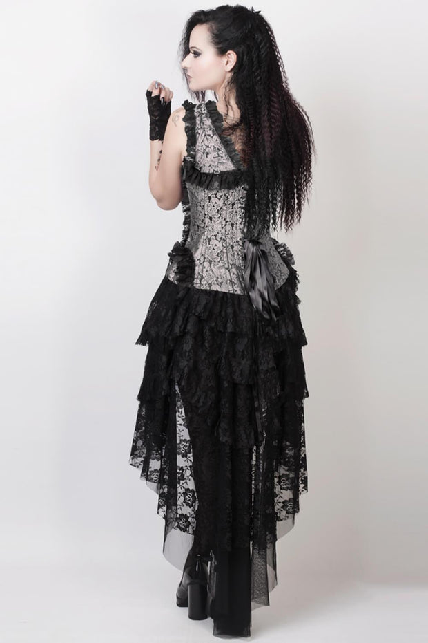 Laelia Custom Made Victorian Inspired Corset Dress in Silver and Black