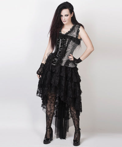 Laelia Victorian Inspired Corset Dress in Silver and Black