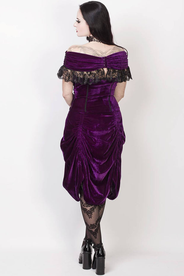 Roberto Burlesque Purple Off Shoulder Dress