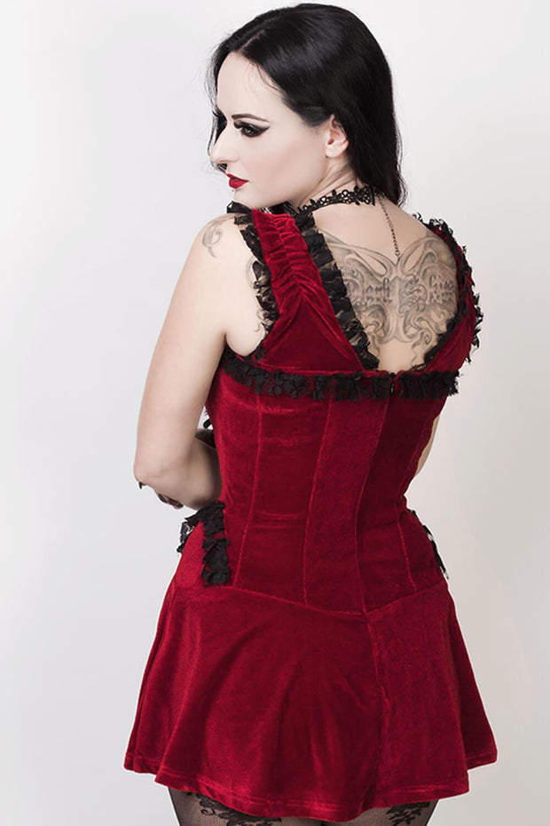 Faigel Halter Burlesque Dress in Maroon Velvet