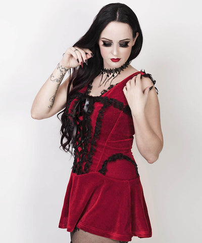 Faigel Halter Burlesque Custom Made Dress in Maroon Velvet