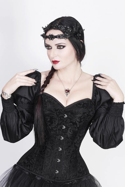 Cirino Custom Made Gothic Black Corset with Attached Sleeve