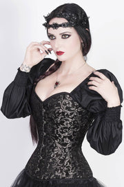 Silver Brocade Corset with Attached Sleeve