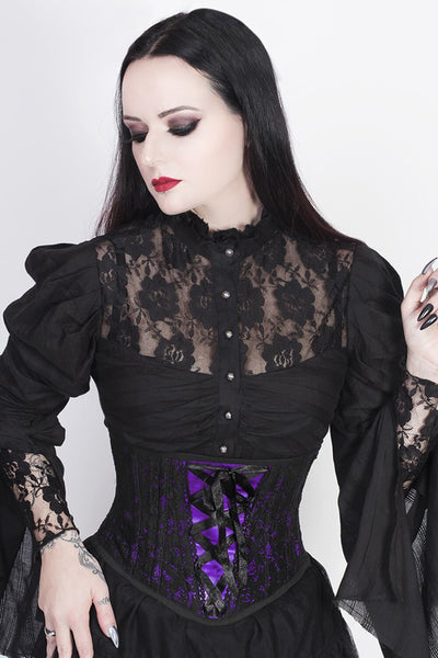 Lazaros Custom Made Underbust Purple Corset with Lace Overlay