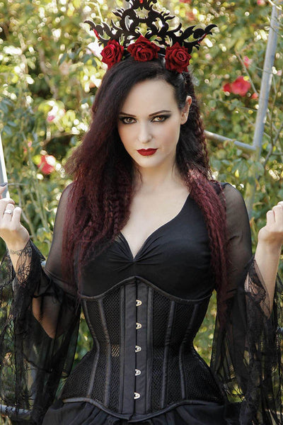 Richelle Custom Made Black Underbust Mesh Curvy Corset