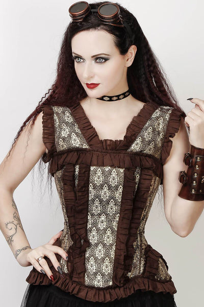 Caley Brocade Corset with Halter Strap