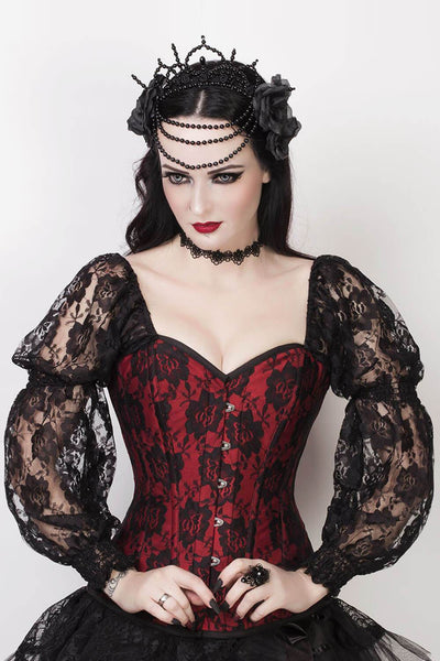Lempi Custom Made Lace Overlay Maroon Overbust Corset