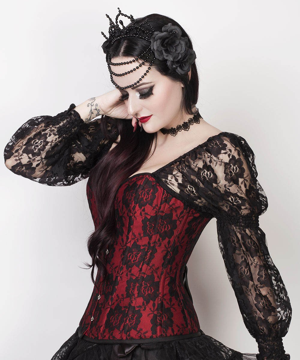 Lempi Lace Overlay Maroon Overbust Custom Made Corset with Attached Sleeve