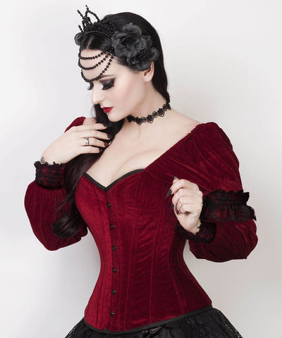 Calvagh Gothic Overbust Custom Made Maroon Corset with Attached Sleeve