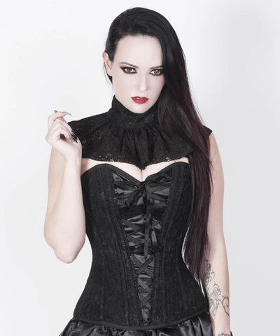 Caiside Black Gothic Lace Overlay Custom Made Corset with Choker