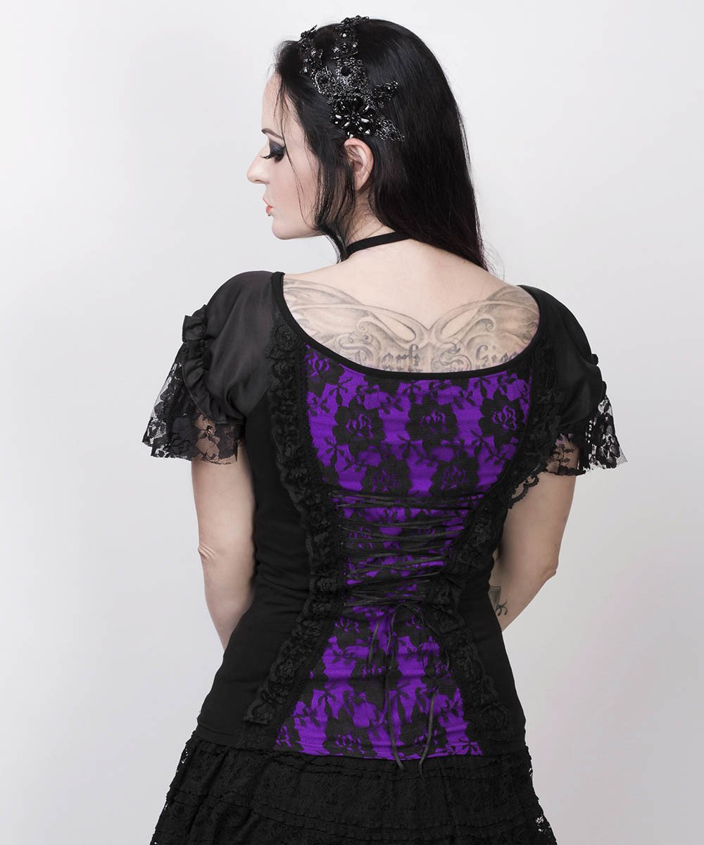 Fillin Purple Gothic Broad Neck Lace Overlay Top