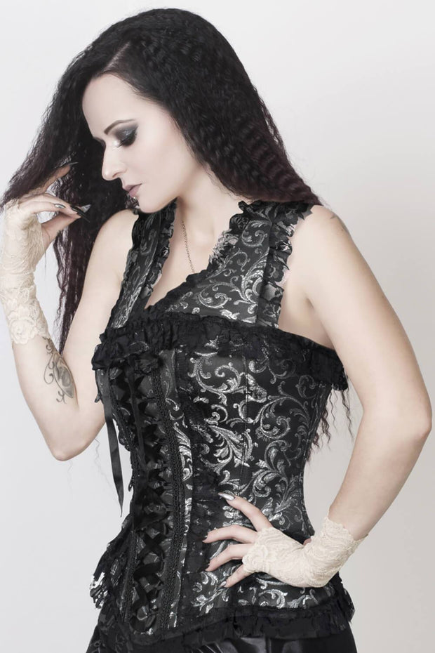 Reiner Custom Made Burlesque Silver Brocade Corset