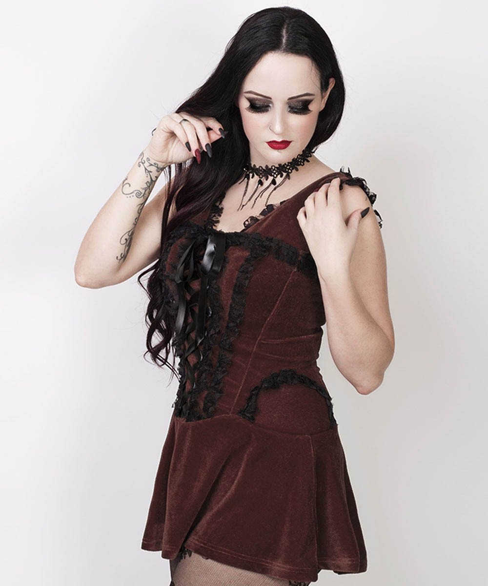 Agrafena Halter Burlesque Dress in Brown Velvet