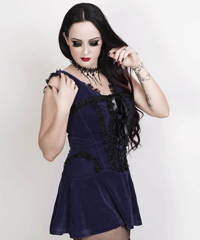 Latonya Halter Burlesque Dress in Blue Velvet