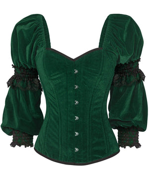 Fima Gothic Overbust Green Corset with Attached Sleeve