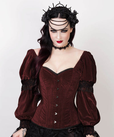 Laryn Overbust Custom Made Brown Corset with Attached Sleeve