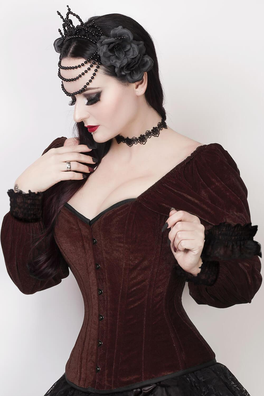 6fb068536a Laryn Overbust Brown Corset with Attached Sleeve