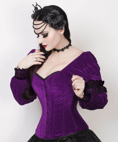 Robbie Gothic Overbust Custom Made Purple Corset with Attached Sleeve