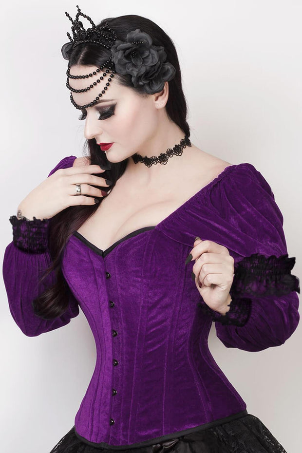 Robbie Custom Made Gothic Overbust Purple Corset with Attached Sleeve