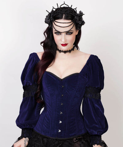 Aglaia Gothic Overbust Custom Made Blue Corset with Attached Sleeve