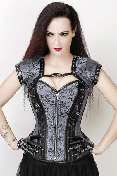 Overbust Custom Made Silver Brocade Corset with Bolero