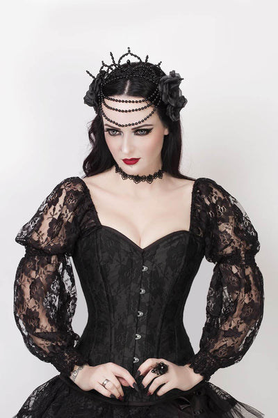 Faddei Black Lace Overlay Corset with Sleeves