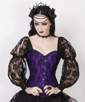 Rolph Lace Overlay Purple Overbust Custom Made Corset with Attached Sleeve