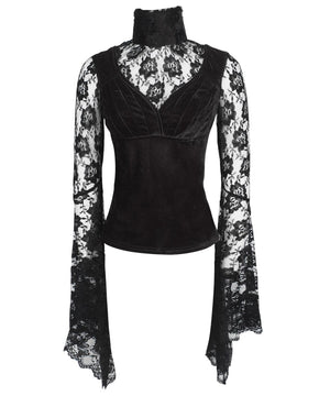 Ajax Long Flared Sleeve Gothic Black Top