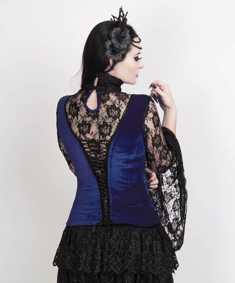 Cicely Long Flared Sleeve Gothic Blue Top