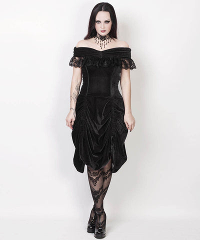 Lanre Burlesque Black Velvet Off Shoulder Dress