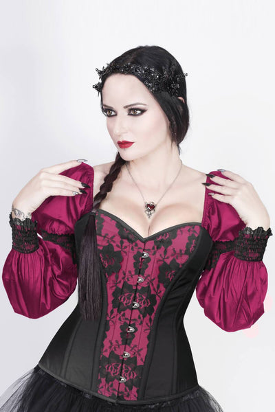 Overbust Custom Made Burlesque Magenta Corset with Attached Sleeve