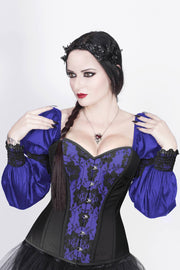 Overbust Custom Made Burlesque Blue Corset with Attached Sleeve