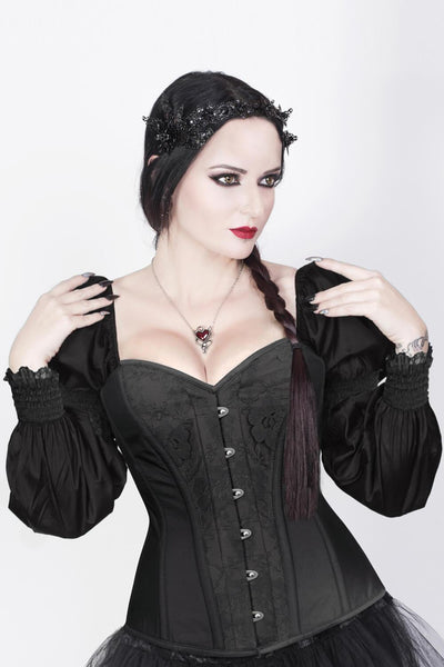 Overbust Custom Made Burlesque Black Corset with Attached Sleeve