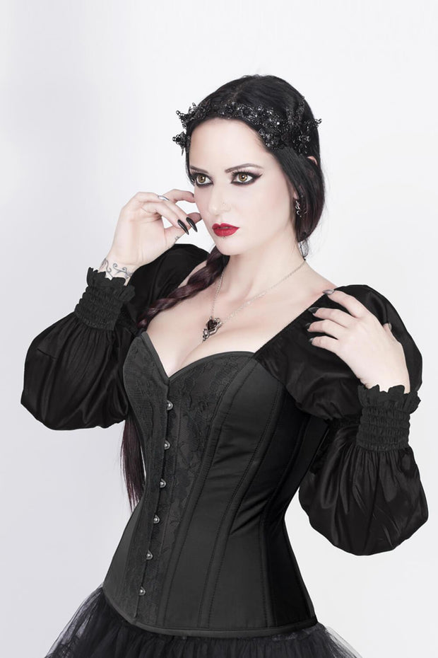 Overbust Burlesque Corset with Attached Sleeve