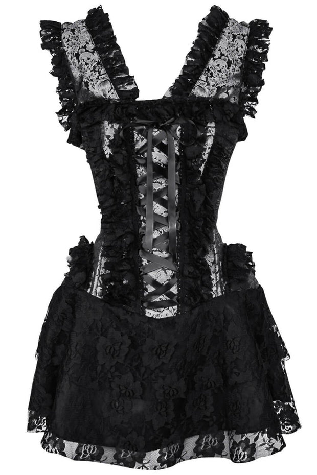 Chihiro Custom Made Halter Burlesque Corset Dress in Silver Brocade