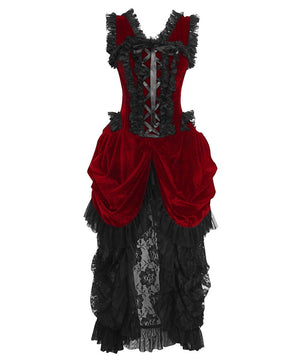 Blenda Velvet Burlesque Maroon Dress
