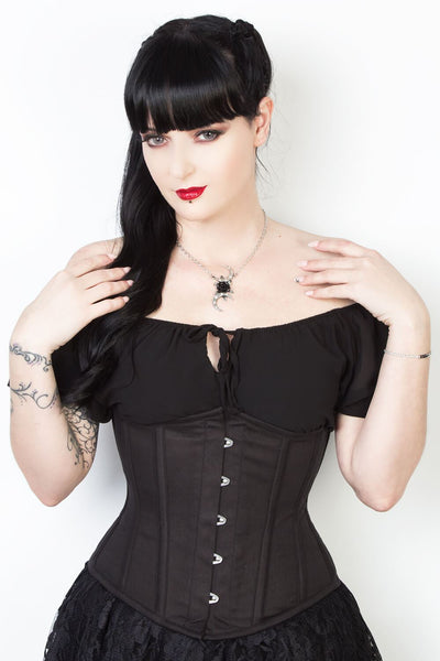 Black Waist Shaper Corset in 100% Cotton