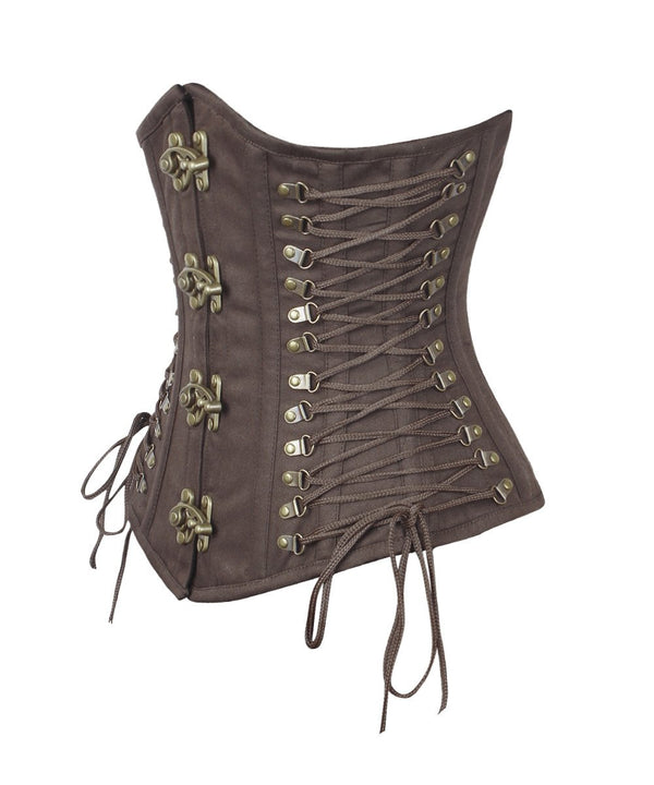 Nanetta Steampunk Brown Cotton Corset with Criss Cross Sides