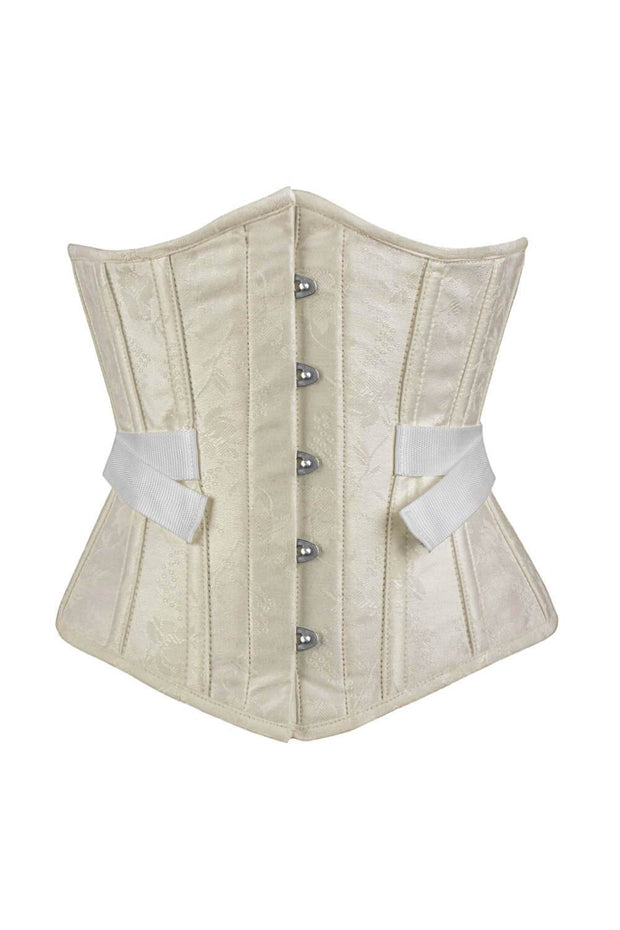 Jemila Underbust Ivory Brocade Corset with Fan Lacing