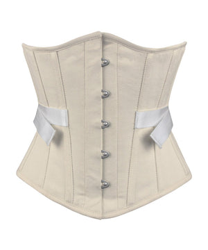 Brioni Underbust Herringbone Cotton Corset with Fan Lacing