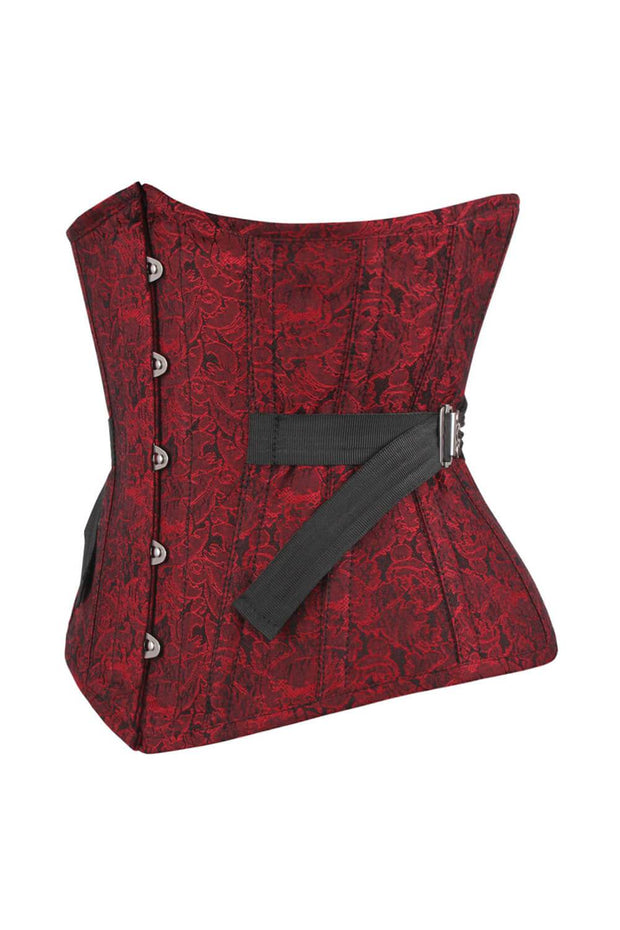 Neomia Underbust Maroon Brocade Corset with Fan Lacing