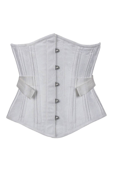 Akakia White Brocade Waist Training Corset with Fan Lacing