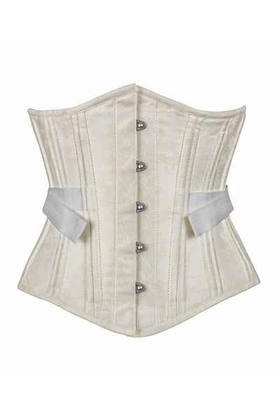 Cattee Ivory Brocade Waist Training Corset with Fan Lacing