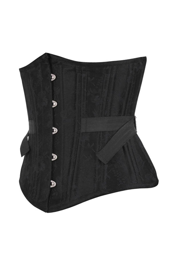 Emmie Black Brocade Waist Training Corset with Fan Lacing