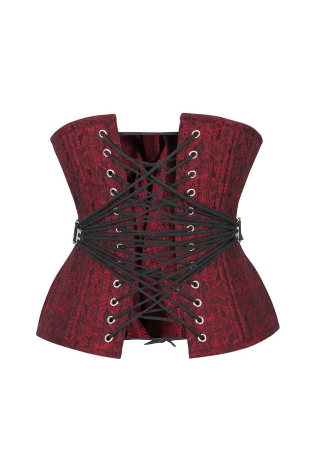 Callan Curvy Waist Training Maroon Brocade Corset with Fan Lacing