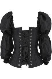 Ellisif Overbust Black Brocade Corset with Sleeves