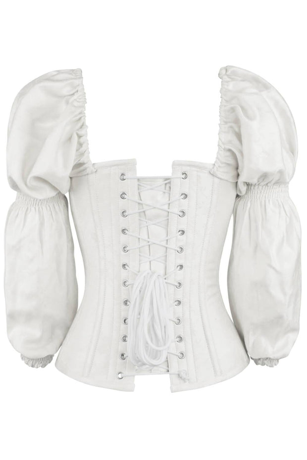 Gavra Overbust White Brocade Corset with Sleeves