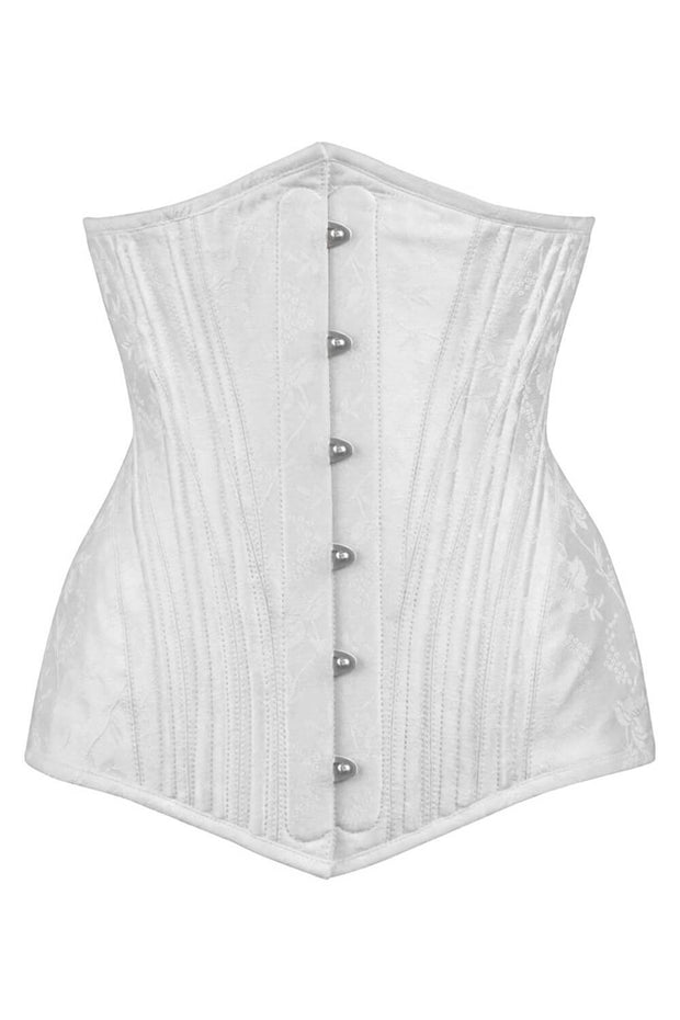 Britani Waist Training White Brocade Corset with Hip Panels