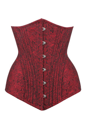 Bohan Waist Training Maroon Brocade Corset with Hip Panels