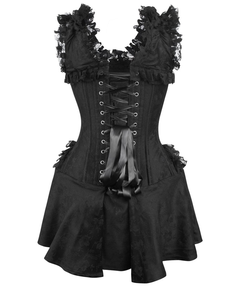 Callee Black Brocade Victorian Lace Up Corset Dress